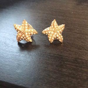 Jcrew gold starfish stud earrings